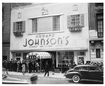 In the 1950s, Howard Johnson's restaurants dotted the American landscape, and travelers came to depend on the restaurants' consistency. This new way of doing business, called franchising, was perfected by the chain's founder, Howard Dearing Johnson. [© Bettmann/Corbis. Reproduced by permission.]