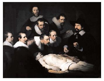 "Rembrandt's ""The Anatomy Lecture of Dr. Nicolaes Tulp."" Dr. Tulp was a lecturer for the Amsterdam Surgeon's Guild, and among his duties was the presentation of public dissections. [© Francis G. Mayer/Corbis. Reproduced by permission.]"