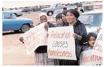 The forced relocation of Native Americans from their ancestral lands has fueled homelessness among that population. Other homeless people have lost their homes to pay for unexpected medical expenses, or because of economic hardship. [Corbis Corporation. Reproduced by permission.]