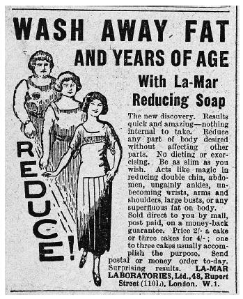 A 1920s advertisement for weight-loss soap promises quick, painless results and offers a money-back guarantee. Both claims are frequently made by quacks about the fraudulent health products or services they sell. [Bettmann/Corbis. Reproduced by permission.]