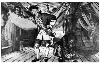 William Stark's self-sacrificing dietary research ended in his death from scurvy, a disease caused by vitamin C deficiency. Had he heeded the recent discoveries of James Lind, pictured here giving lemons to sailors, Stark would have known to include citrus fruits in his experimental diet. [© Bettman/Corbis. Reproduced by permission.]