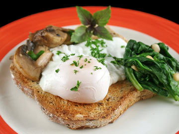 Poached Eggs with Collard Greens